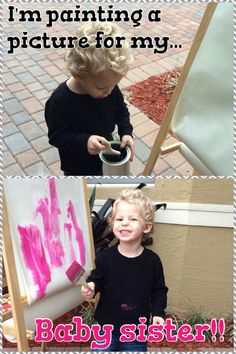 Gender reveal: sibling paints a picture for the baby nursery. Once dry, take it to get framed. Big brother will be so proud to see his art work hanging in his sisters room.