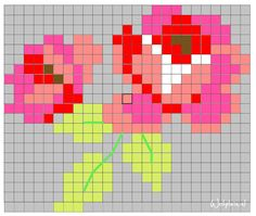 Could also be used for a crochet cross stitch diagram. Pixel Crochet, Crochet Cross, Crochet Chart, Beading Patterns, Embroidery Patterns, Crochet Patterns, Cross Stitch Rose, Cross Stitch Flowers, Cross Stitch Designs