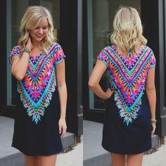 Bold Abstract Print Short Sleeve Shift Dress