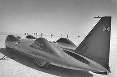 Donald Campbell's Bluebird jet car, 1964.  Land speed record LSR streamlined aerodynamic salt flats