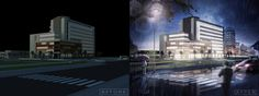 Photoshop architecture rendering tutorial : Day to night How to put objects, people, in night scene Adding the dark or light in night scene -----------------...