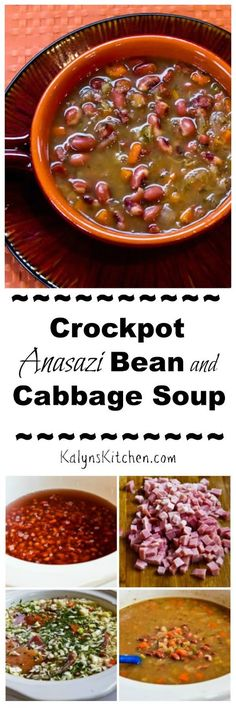 Anasazi beans are sweet and delicious in this Crockpot or Stovetop Anasazi Bean and Cabbage Soup, but use another types of beans if you prefer. This soup can cook all day and freezes well.  [found on KalynsKitchen.com]