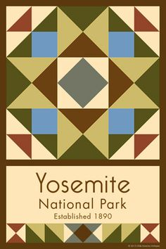Yosemite National Park Quilt Block designed by Susan Davis. Susan is the owner of Olde America Antiques and American Quilt Blocks She has created unique quilt block designs to celebrate the National Park Service Centennial in 2016. These are the first quilt blocks designed specifically for America's national parks and are new to the quilting hobby.