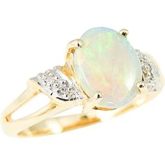 Fiery OPAL and Diamond Ring 14k ESTATE ON SALE NOW - FAST SHIP GET BEFORE CHRISTMAS!