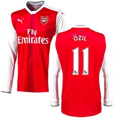 Mesut Ozil Arsenal Puma 2016 Home Replica Long Sleeve Jersey - Red - $114.99