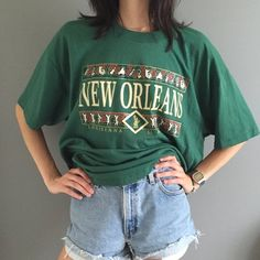 Green New Orleans t-shirt. Super comfortable and oversized. The tag is cut out, but it fits like a large/ xlarge. Graphic Tee Outfits, Summer Outfits, Cute Outfits, Wearing All Black, Androgynous Fashion, Sweatshirt, T Shirt, Aesthetic Clothes, Sailboat