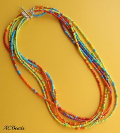 Hot Tropical Seed Bead Necklace  Colar Tropical de missangas #ACBEADS  #OTTBS
