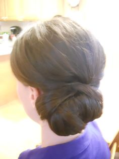 Wedding hair - Bride or bridesmaid side bun styled by Carrie at Appease Inc. Need a stylist for your wedding? We travel anywhere! See our website at www.appease2you.com for details.