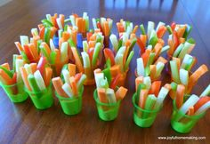 Vegetable Tray Individual Servings... I like this idea for a party