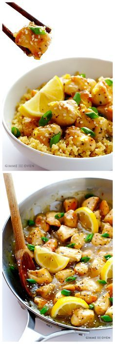 Skinny Honey Lemon Chicken -- quick, easy, and so delicious! | gimmesomeoven.com .