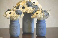 Slate Wedding Collection Centerpieces Mason Jars Sola Flowers and dried Flowers Grey Navy Blue Dusty Miller Silver Brunia Anemone