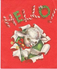 Vintage Christmas Card Lamb Bells Candy Canes Wreath S. Co. 1950's to 1960's | eBay