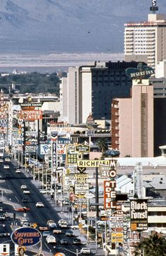 Las Vegas Strip, 1968Also black & white. Unknown photog. via Gamma-Keystone/Getty.