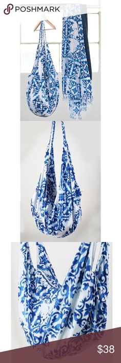 """🌻3 for $25 Damask Block Print Hobo Tote Bag Damask Block Print Hobo Tote bag. Stunningly unique handcrafted damask block print hobo tote with zipper   *hand block print may have minor variations in the print making each bag a unique one of a kind piece*   100% cotton; Approx. 36.7"""" x 20"""" B Chic Boutique Bags Hobos"""