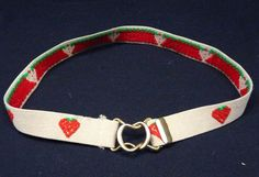 "Vintage 80s Novelty Strawberry HEART Embroidered Belt S/M 26-30"" Elastic Stretch"