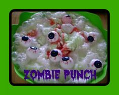 This Zombie Punch Recipe is perfect for entertaining or an episode of The Walking Dead. It's a delicious and fun beverage for both kids and adults. Halloween Punch, Halloween Drinks, Spooky Halloween, Halloween Party, Halloween Ideas, Happy Halloween, Halloween Decorations, Zombie Birthday, Zombie Party