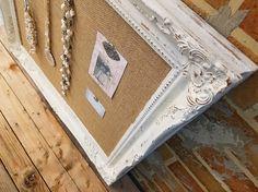 Framed cork board  shabby chic decor  large pin board