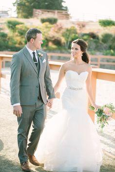 Ruffled Mermaid Wedding Dress with a Crystal Sash
