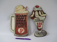 Ice Cream Signs, Metal Vintage, Root Beer Floats, Sundae, Old Time Advertising Fountain Drinks, Retro Kitchen Restaurant Lunch Counter Decor by HobbitHouse on Etsy