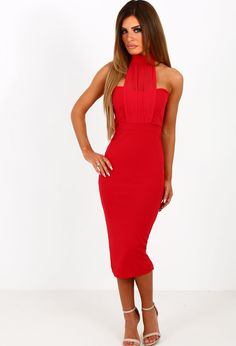 Look totally fierce on your next night out in this amazing red midi dress! This red halterneck dress features a mesh detailed front and fastens with buttons at the back of the neck. Amazing Red, Pink Midi Dress, Playsuits, Night Out, Fashion Brands, High Neck Dress, Celebs, Boutique, Clothes For Women