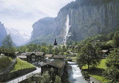 Lauterbrunnen and Staubbach Falls, Jungfrau Region, Swiss Alps, Switzerland
