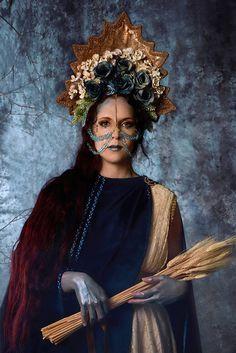 Pagan Goddess headdress Blue roses headdress Russian