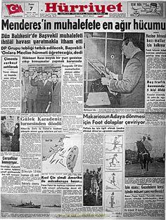 Hürriyet gazetesi 7 eylül 1958 Olay, Event Ticket, Nostalgia, Historia