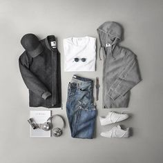 ___ Hoodie: Boiled Wool Bomber: T-Shirt: Sneakers: Watch: Glasses: Denim: Headphones: Cologne: Cap: Men With Street Style, Men Street, Urban Outfits, Casual Outfits, Stylish Men, Men Casual, Mens Garb, Outfit Grid, Latest Mens Fashion