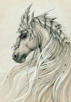 Elven horse 2 by Anwaraidd on deviantART * Fantasy Myth Mythical Mystical… Painted Horses, Horse Drawings, Realistic Drawings Of Animals, Sketches Of Animals, Horse Head Drawing, Eagle Drawing, Pencil Drawings Of Animals, Unicorn Drawing, Unique Drawings