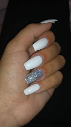 White nail art design for 2020 by Aphrodite white nail polish will never be outdated, so it will naturally be included in th. White Coffin Nails, Acrylic Nails Coffin Short, Simple Acrylic Nails, Blue Acrylic Nails, Square Acrylic Nails, Summer Acrylic Nails, Acrylic Nail Art, Spring Nails, White Acrylics