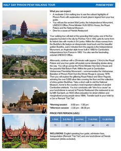 HALF DAY #PHNOM PENH WALKING TOUR What you can expect: - A moderate 3 Km walking tour to see the cultural highlights of #Phnom Penh with explanation of each places legend from your tour guide. - You will see the ancient Wat Lanka the Independence Monument UNESCO Office Prime Minister HUN SENs House the Royal Palace and the National Museum. - Dine for a cause at Friends Restaurant (Booking: info@acltravel.com)