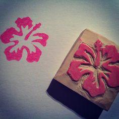 My first handmade rubber stamp. Hibiscus flower.