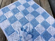 Baby Boy Blanket with booties by WendysWonders127 on Etsy, $45.00