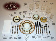 Most comprehensive traditional formal place settings. Exact placement for every piece of silver, glass or crystal. Comment Dresser Une Table, Cena Formal, Royal Table, Dining Etiquette, Table Setting Etiquette, Formal Table Settings, Table Place Settings, Etiquette And Manners, Table Manners
