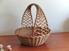 Antique french wicker basket 60s 1960s
