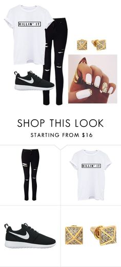 """""""casual and killin it"""" by hannah96635 ❤ liked on Polyvore featuring Miss Selfridge, NIKE, Eddie Borgo, casual, basic and nike"""