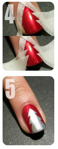 Silver & Red Christmas Tree Nails Tutorial by Nailside... Painters tape or stationers tape (? Is that the same as masking tape?) scotch tape didnt work too well for me.