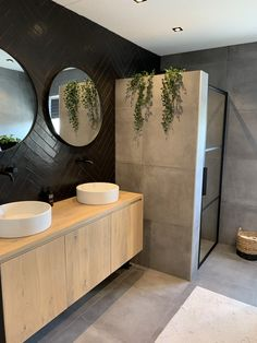 Beautiful bathrooms, with footed baths, cladded walls and colour that is muted - home decor inspiration. Bathroom Goals, Small Bathroom, Warm Bathroom, Concrete Bathroom, White Bathrooms, Bathroom Black, Luxury Bathrooms, Master Bathrooms, Dream Bathrooms