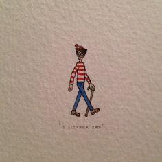 Day 284 : Found him!  11 x 26 mm. #365paintingsforants #miniature #watercolor #whereswally #whereswaldo (at Greyton)