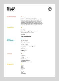 My Resume by Fellicia Yonata, via Behance