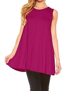 """""""$ 6.99 Women's Sleeveless Solid Long Flowy Basic Tunic Tank Top Color : FuschiaTunic Top Perfect for Casual,Normal,Everyday,Party.This is a beautiful,cute and amazing top available at very cheap prices.Will be available in various colors and sizes.This can be worn during winters.fall,summer,spring""""Women's Sleeveless Solid Long Flowy Basic Tunic Tank Top by Velucci at Amazon Women's Clothing store:"""