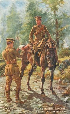 British; 16th(The Queen's) Lancers, A despatch from the front, c.1914 by H.Payne