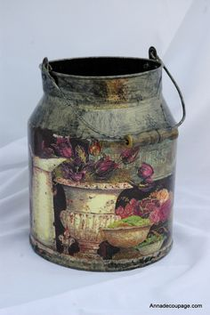 decoupage / milk can