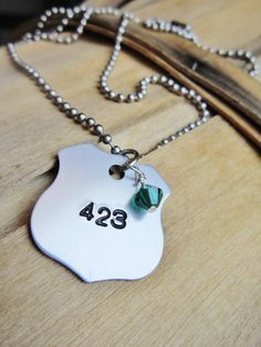 @Jenny Jackson... Police Officer Badge Number Necklace / by averyrayne, $14.00.. if only there was a Lone Star
