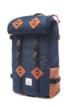 Topo Designs Klettersack Backpack in Navy w/ Leather