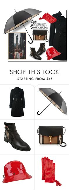 """A rainy day in London Town"" by outfitsloveyou ❤ liked on Polyvore featuring Burberry, WALL, Karen Kane and Imoni"