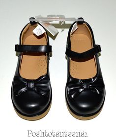 Gymboree Uniform Shop Black Bow Mary Janes Shoes Girls 12 NWT NEW sl1-5 #Gymboree #MaryJanes