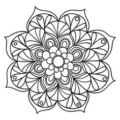 Mandala Floral #18                                                       … Mandalas Painting, Mandalas Drawing, Mandala Coloring Pages, Coloring Book Pages, Dot Painting, Zentangles, Doodle Pages, Doodle Art, Flower Mandala