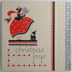#212 20s Art Deco Girl & Scottie Dog-Vintage Christmas Greeting Card