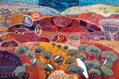 """Edge of the Jewel"" by Sandipa - mixed media on canvas, 60 x 91 cm Art Themes, Aboriginal Art, Australian Artists, Mixed Media Canvas, Landscape Paintings, Landscapes, Medium Art, Love Art, Painting Inspiration"